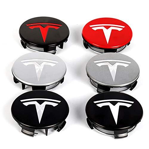 4 unids 56mm Cubiertas de la Rueda de Hubcaps para Tesla Logo Modelo S X 3 Y Roadster Accessorie Center Cap para Llantas Decoración de Cubo de Llantas (Color Name : C)