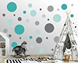 100 Stück Wandtattoo Dots für Kinderzimmer - Wandsticker Set - Pastell Farben für Baby zum Kleben Wandaufkleber Sticker Erstausstattung - Wandfolie Kreise zum Kleben Pastell Minze Grau...