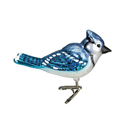 Old World Christmas Bird Watcher Collection Glass Blown Ornaments for Christmas Tree Bright Blue Jay