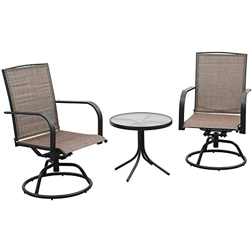eclife Swivel Patio Bistro Set 3PC Brown Chair Set W/Glass Top Coffee Table