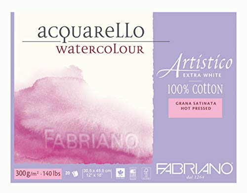 Fabriano Artistico 140 lb. Hot Press 20 Sheet Block 12x18' - Extra White
