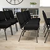 Flash Furniture HERCULES Series 21''W Stacking Church Chair in Black Fabric - Silver Vein Frame