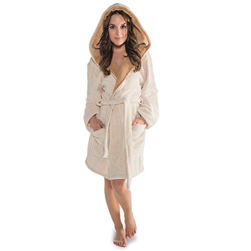 CelinaTex Miami Damen Bademantel mit Kapuze XXL Creme beige Coral Fleece Morgenmantel Mikrofaser Saunamantel