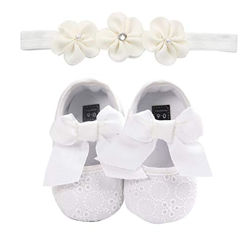 Zapatos Bebé Niña+Diademas SHOBDW Suela Suave Antideslizante Zapatillas Linda Linda Flor Encantadora Zapatos De Princesa Zapatos Bebé Recién Nacida 2019 Zapatos Bebe Primeros Pasos(Blanco,0~6)