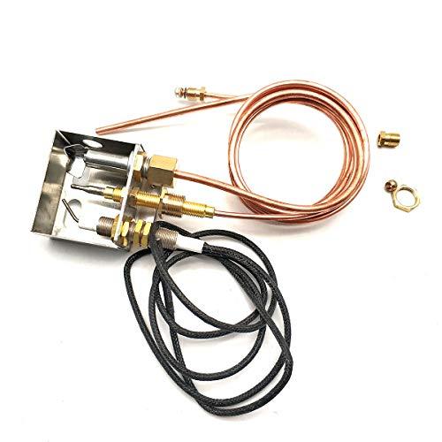 Mensi Chimeneas de gas propano para chimeneas de fuego DIY pieza de repuesto de seguridad Piloto quemador Asamblea para kit de encendido de propano M8x1 extremo y tubo de cobre de 4 mm
