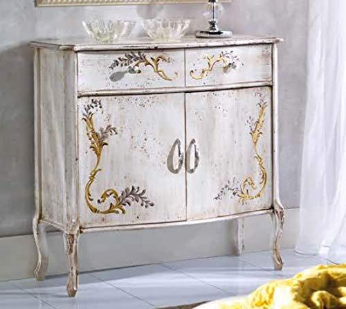 Comò, due ante, un cassetto, colore bianco avorio, decorazioni oro -cm: 87 cm - 38 cm - H 83 cm - i in Abete massello - 100% Made in Italy (GF17)