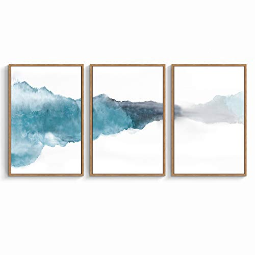 SIGNWIN 3 Piece Framed Canvas Wall Art Abstract Watercolor Painting Canvas Prints Home Artwork Decoration for Living Room,Bedroom - 24'x36'x3 Panels