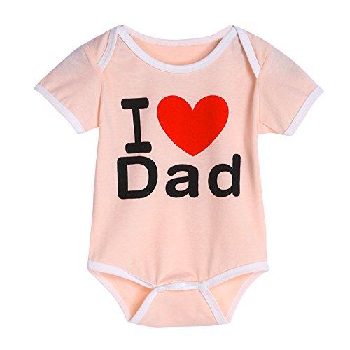 Domybest Baby-Kleinkind-Kleinkind-Kinderbuchstabe-Druck-Spielanzug-weicher Bodysuit-Overall (80 I Love DAD)