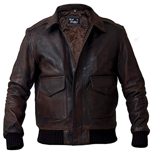 Top Gun Bomber Navy Flight A2 Lederjacke - G1 Military Pilot Flieger Flieger Biker Lederjacke Faux Fux Gr. XL, A2 Aviator Air Force Bomberjacke, Braun