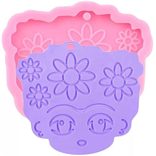 HHAA Molde De Pastel Brillante Brillante Llavero De Niña Molde De Silicona DIY Collar De Flores Joyas Moldes De Resina Epoxi Dijes Artesanales Colgantes Moldes De Arcilla Polimérica