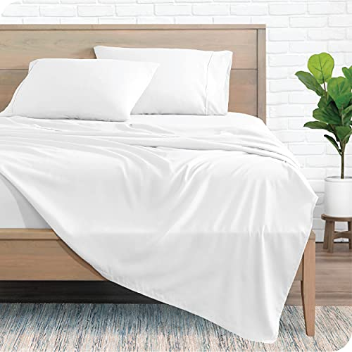 Bare Home Queen Sheet Set - 1800 Ultra-Soft Microfiber Queen Bed Sheets - Double Brushed - Queen Sheets Set - Deep Pocket - Bedding Sheets & Pillowcases (Queen, White)