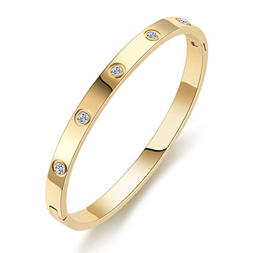 MDRONEY Oval Love Bracelet Bangle Friendship Jewelry Gifts for Women Teen Girls Stainless Steel Hinged Bracelet with Cubic Zirconia Stones Present for Her Friends, Gold, Rose Gold and Silver Available