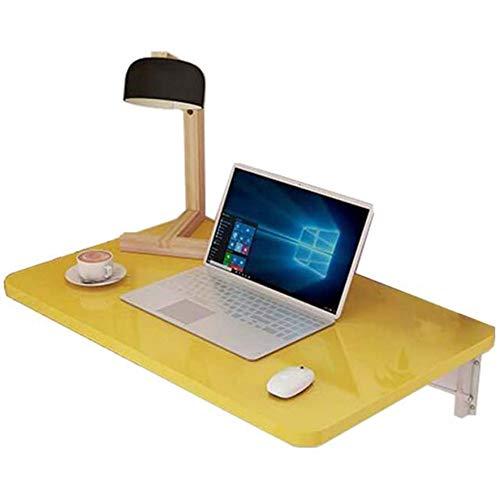 SANJIANG Mesa Plegable De Pared Mesa De Comedor De Cocina Escritorio De Computadora Mesa De Estudio Escritorio Convertible Plegable Space Saver,Yellow-60x40/24x16in