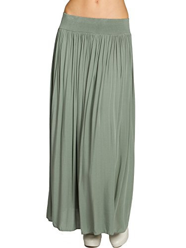 Caspar RO012 Leichter Langer Damen Sommerrock, Farbe:Oliv grün, Größe:One Size