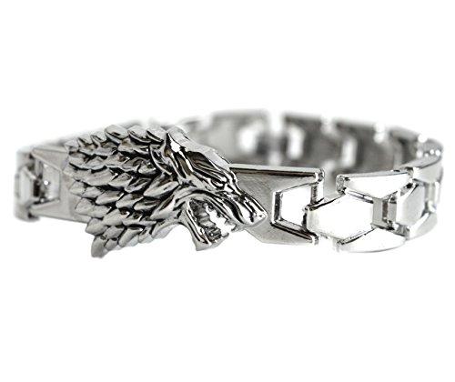 Bracciale rigido di colore argentato con decorazione a forma di meta-lupo, simbolo ispirato al personaggio di Jon Snow della serie Il Trono di Spade, in confezione regalo