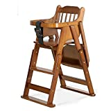 DEI QI Baby Dining Chair Children Table Chair Portable Kids Folding Chair Multi-Purpose Eating Seat Wooden High Chairs for Babies and Toddlers Adjustable Height (Color : Brown)