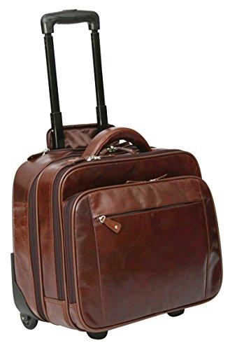 S Babila - Maleta de mano - Bolsa de viaje con compartimento para portátil - Cuero - Marrón oscuro