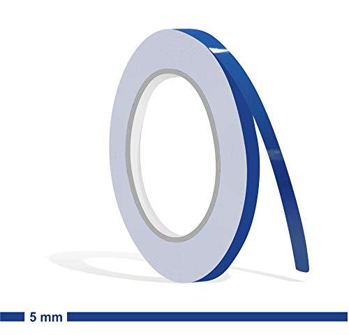 Siviwonder Zierstreifen verkehrsblau Glanz in 5 mm Breite und 10 m Länge Folie Aufkleber für Auto Boot Jetski Modellbau Klebeband Dekorstreifen blau Mittelblau