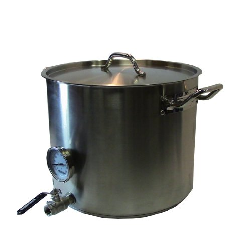 15 Gal Home Beer Brewing Kettle w/ Valve & Thermometer