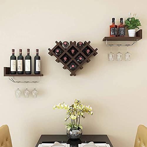 ZHBH Estante para Copas de Vino para Colgar en la Pared Estante para vinos de Madera con Soporte para Vidrio, Juego de estantes para Botellas de Madera Maciza para Cocina, Sal