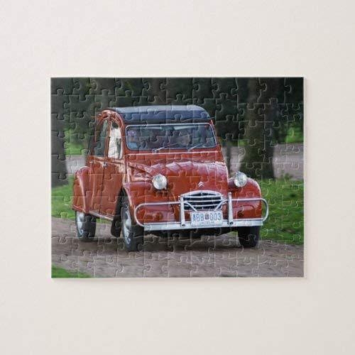 Tamengi Un viejo coche rojo Citroen 2CV con una mujer sonriente Jigsaw Puzzle 1000 piezas 500 piezas