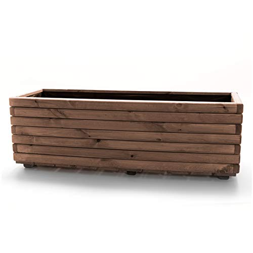 HolzFee Pflanzkasten Akzent 120 Kiefer dunkel geölt Holz 118 x 40 x 40 cm Hochbeet