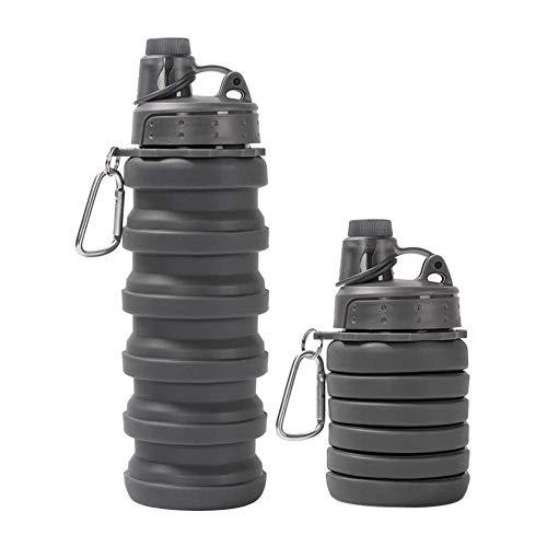 Elise inklapbare waterfles - siliconen-leak proof bewegende speelruimte waterfles met haak voor camping/outdoor/wandelen, 500ml (blauw)