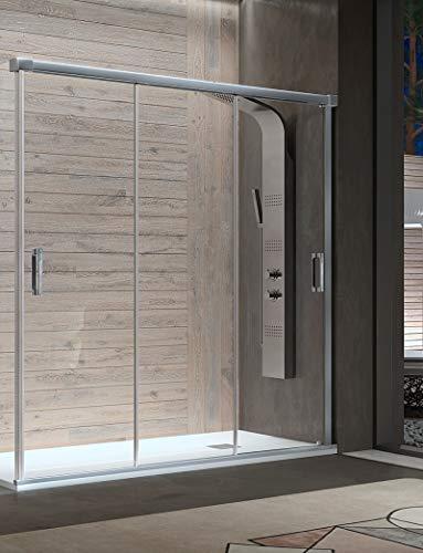 Mampara de Ducha Frontal - 3 Puertas Correderas [Apertura por ambos lados] - Cristal de Seguridad de 6 mm - Modelo Sabina (100-104 cm)