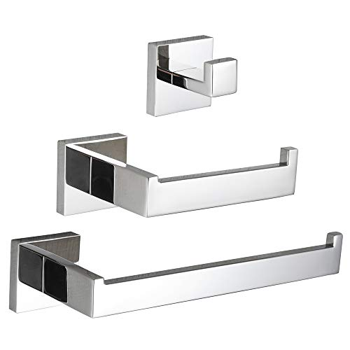 VELIMAX Premium Stainless Steel 3-Piece Bathroom Hardware Accessories Set Wall Mounted Bathroom Hardware Kit - Robe Hook Toilet Paper Holder Towel Ring, Polished