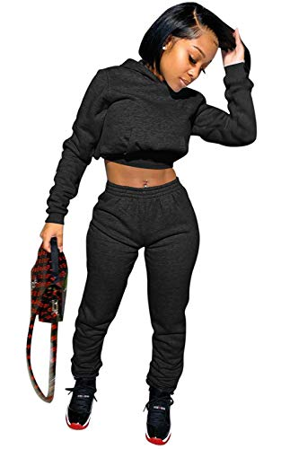 Winter Outfits for Women 2 Piece Tracksuits Long Sleeve Crop Hoodie Sweatshirts Jogging Pants Set Black L
