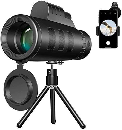 Bierglaks Lente de telescopio monocular Starscope para telfono 40X60 Zoom para telfono Telescopio monocular Cmara de Alcance Camping Senderismo con trpode de Clip para telfono