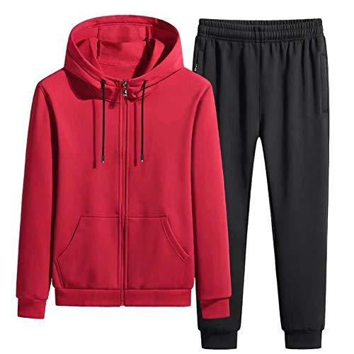 LIXIAOLAN Mens Anzug Set Kids Contrast Hoodie Top Bottoms Jogging Zip Jogger Gym Causal Übung Rennen Sport Sweat Anzughose,Rot,XXXL
