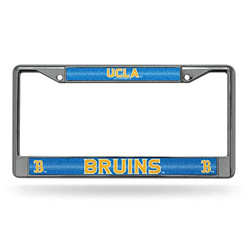 Rico Industries Unisex's NCAA UCLA Bruins Bling Chrome License Plate Frame with Glitter Accent, Blue, 6 Inches x 12 Inches