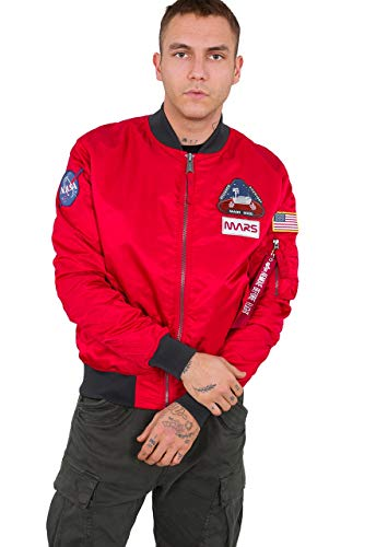 ALPHA INDUSTRIES Men Bomber Jacket MA-1 LW Mission To Mars, Talla:S, Color:Speed Red