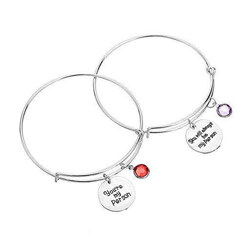 """Mainbead, 2 braccialetti per migliori amiche, con scritta in lingua inglese """"You are my person"""", bracciale in lega di cristallo regolabile (P3)"""