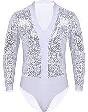 iiniim Maillots de Danza para Hombre Body Lentejuelas de Baile Danza Fiesta Leotardo Gimnasia Manga Larga Camisa Camiseta Disfraz de Ballet Actuacion