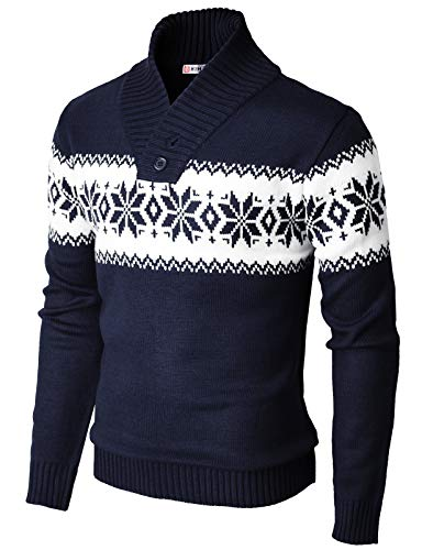 H2H Mens Casual Slim Fit Shawl Collar Pullover V-Neck Sweater Navy US XL/Asia 2XL (KMOSWL0102)