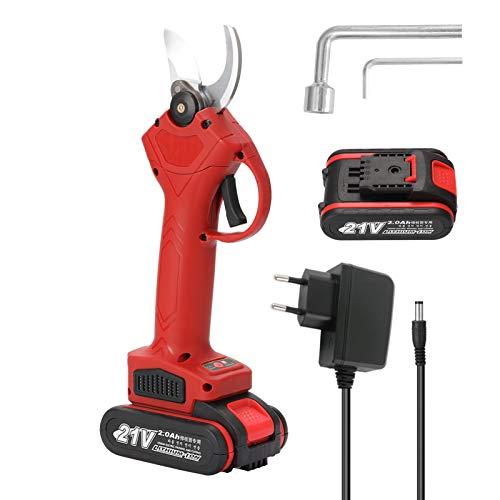 KKmoon 21V Elektrische Gartenschere, 30mm Akku Astschere, Wiederaufladbare Lithium Astschere Mit 2 Batterien