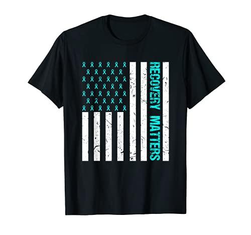Recovery Matters Drug Alcohol Adiction Guerrero Bandera de Estados Unidos Camiseta