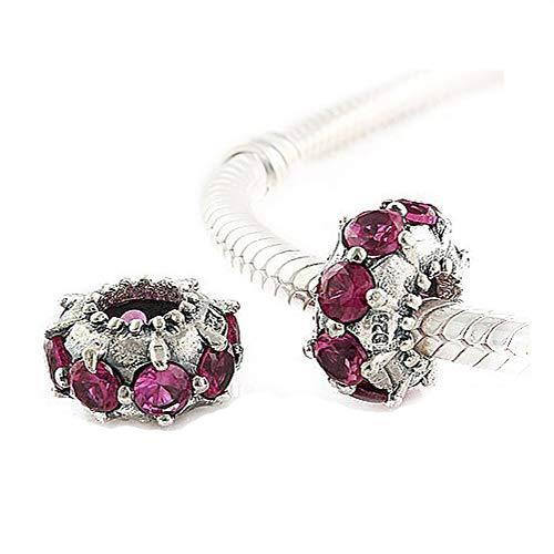Andante-Stones - Original, Plata de Ley 925 sólida, Cuenta de Cristal, Vintage con Circonias CZ, Elemento Bola para Cuentas European Beads + Saco de Organza