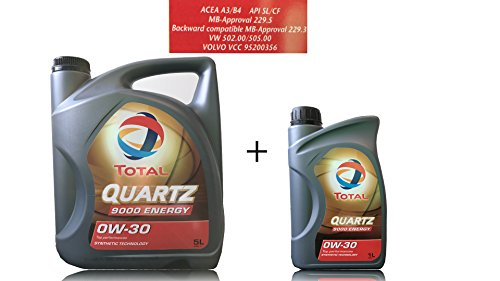 6 liter motorolie TOTAL QUARTZ 9000 Energy 0W-30