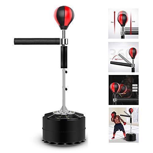 Pedestal Boxsäcke, Höhenverstellbar Freistehender Reflex Boxball Zum Stressabbau MMA Boxing Speed Trainer Boxsack Spinning Bar,Schwarz,14suckers