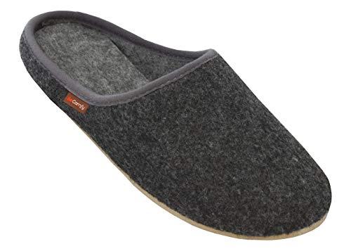 BeComfy Filzpantoffeln Slippers Damen Herren Unisex Filz Hausschuhe mit Filzsohle/Gummisohle Pantoffeln 36-46 EU (43 EU, Graphit Gummisohle)