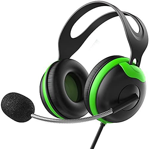 Auriculares para niños con micrófono, auriculares con micrófono Boom + control de volumen para la escuela (verde)