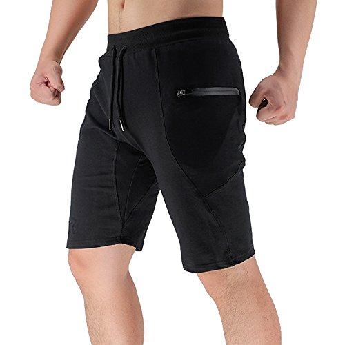 BROKIG Men's Sidelock Gym Workout Sport Shorts with Zipper Pockets (M, Black)