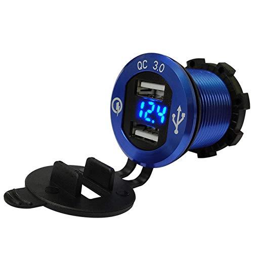 ETbotu Auto zubehör - Geschenke für Männer,Auto Motorrad umgerüstetes USB-Ladegerät Handy Tablet QC3.0 Metall schnell Aufladen Blaues Aluminiumgehäuse blaues Voltmeter QC3.0
