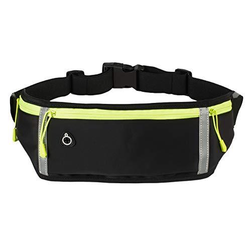 Mixoo Laufgürtel, Gürteltasche für Wander-Fitness-Reisen, wasserfeste Taillenpackung mit DREI hüpffreien Reißverschlusstaschen, hüpfenfreie Tasche mit Kopfhörerloch, reflektierende Streifen