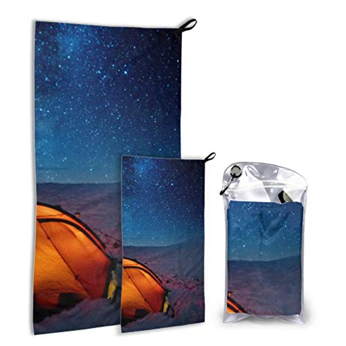 WUTMVING Tent Shines Under Stars-Filled Night Sky 2 Pack Microfiber Compact Towel Travel Shower Towel Set Fast Drying Best for Gym Travel Backpacking Yoga Fitnes
