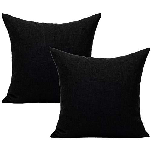 All Smiles Color Negro Exterior Fundas de Cojín y Almohada Decorativas para Hogar Muebles de Patio Cuadradas de Lino Sólido para Sofá Porche Decoración 45 x 45CM,2PC