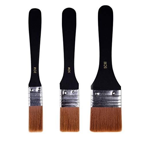 Paint Brushes for Paints Stains Varnishes Glues and Gesso, Nylon Hair Flat Paint Brushes Set for Walls Trim Doors Fences and Decks, 3 PCS